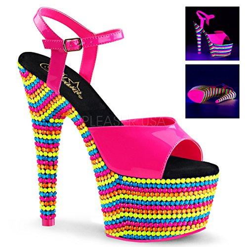 Pleaser Womens Adore Sandali Con Cinturino Alla Caviglia In Vernice 709rbs Neon Rosa Caldo Pat, Neon Multi