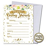 White and Gold Floral Baby Shower Invitations with Envelopes 25 Pack | Gender Neutral | Fill in Style | Baby Shower Gender Reveal