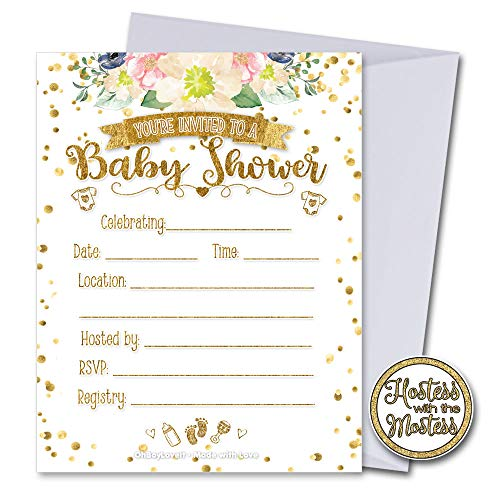 Oh Boy Love It White and Gold Floral Baby Shower Invitations with Envelopes 25 Pack | Gender Neutral | Fill in Style | Baby Shower Gender Reveal