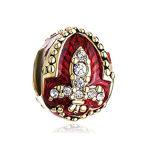 ShinyJewelry Red Cross Fleur De Lis Faberge Egg Beads for sale  Delivered anywhere in USA