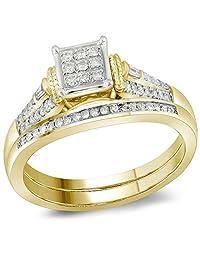 Womens 14K Yellow Gold Baguette Diamond Bridal Wedding Engagement Ring Set 1/5CT