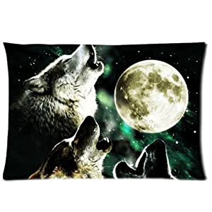 "Generic Custom Animal Three Wolf Look The Sky And Moon Decorative Zippered Pillow Case 20""x30""(two sides)"