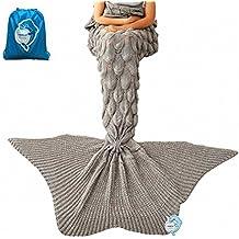 "LAGHCAT Mermaid Tail Blanket Knit Crochet Mermaid Blanket for Adult,Goldfish Tail Sleeping Blanket (71""x35.5"",Grey)"