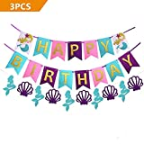 efoot 3PCS Mermaid Princess Happy Birthday Decorations Banner, Glitter Gold Letters Pennant Flags for Sea Beach Party Decorations Favors, Photo Props, Birthday Party Supplies