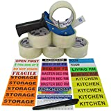 Tag-A-Room Color Coded Moving Labels (525 Count), Packing Tape (6 Rolls), Tape-Gun, Door ID's, and Marker, Pack N Move Bundle Moving Supplies
