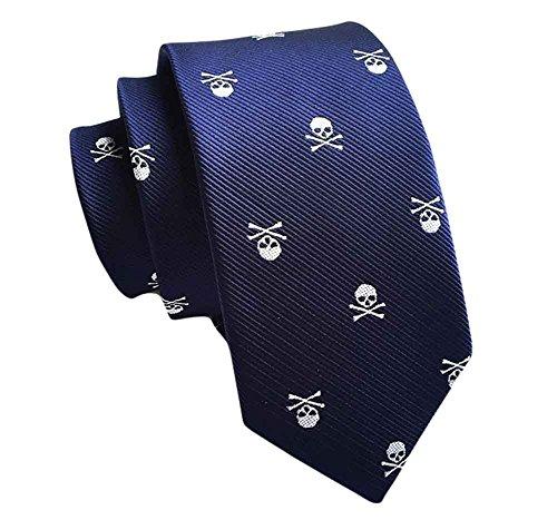MENDENG Black Red Green Skull Crossbones Necktie Skeleton Halloween Party Tie