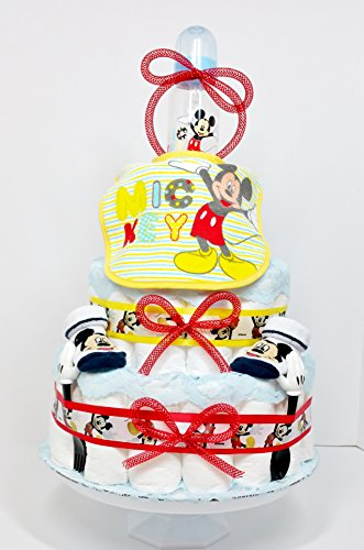 Feeding Fun With Mickey Mouse Baby Boy Diaper Cake by As Your Baby Grows Gift Boutique