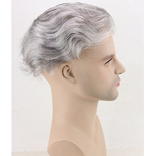 Dreambeauty Men's Toupee 10×8 inch Human Hair Thin Skin Hairpiece Hair Replacement System Monofilament Net Base for Men (20% #2 Mix 80% silver hair) by Dream Beauty (Image #4)