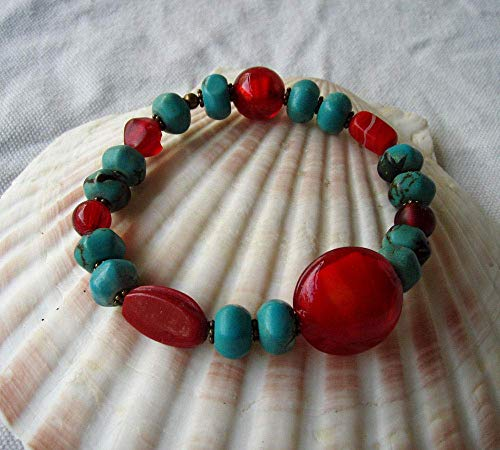 Red & Turquoise Blue Stretch Bracelet Glass & Resin Beads w/Antique Bronze Finish Findings