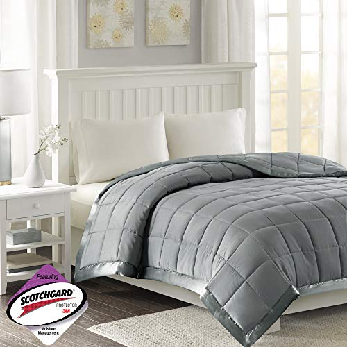 Madison Park Windom Microfiber Down Alternative Stain Resistant Blanket, King, Charcoal (King Blanket)