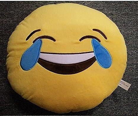Emoticones, Cojín de Emoji Sonriente Suave y Cómodo Decoración Sofá Juguete de Peluche Mono Divertido 32cm