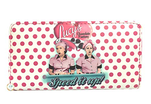 I love Lucy Polka Dots Wallet with Around Zip Closure (Pink/White)