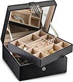 Glenor Co Jewelry Box Organizer - 17 Slot Small Classic Holder with Modern Closure, Large Mirror, 2 Trays for Women, Girls & Teens - Storage Case for Earring Ring Necklace Bracelet - PU Leather Black