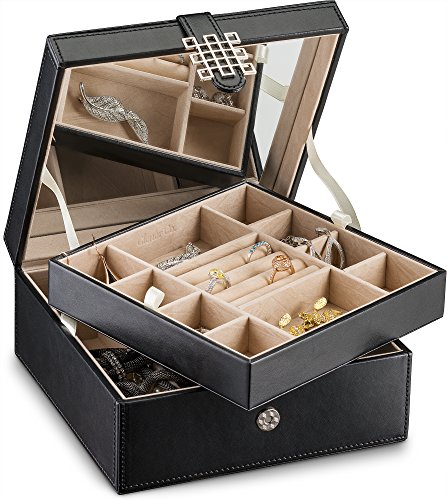 Glenor Co Jewelry Box Organizer - 17 Slot Small Classic Holder with Modern Closure, Large Mirror, 2 Trays for Women, Girls & Teens - Storage Case for Earring Ring Necklace Bracelet - PU Leather Black (Or Women Jewelry)