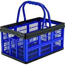 CleverMade CleverCrates 16 Liter Shopping Basket/Grocery Tote: Collapsible Storage Bin/Container, Royal Blue
