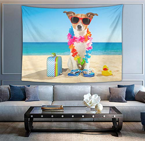 NiYoung Tapestry Mandala Hippie Bohemian Tapestries Wall Hanging Beach Funny Jack Russell Dog Tapestry Wall Hanging Indian Dorm Decor 50 x 90 - Throw Tapestry Jack Russell