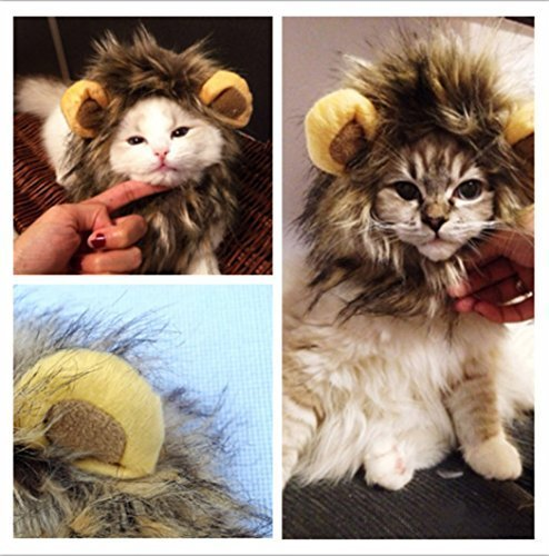 Pet Costume Cats Lion Mane Wig for Dressing up /Halloween Costumes/ Party Supplies(For head circumference of about 26-30 cm cat or dog)