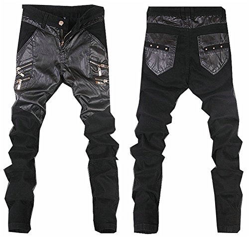 New Mens Leather Pants - OnIn 2018 New Arrival PU Men's Leather Pants Casual Slim Fit Fashion Solid Skinny Mens Trousers 9 Colors 28-36 10 629