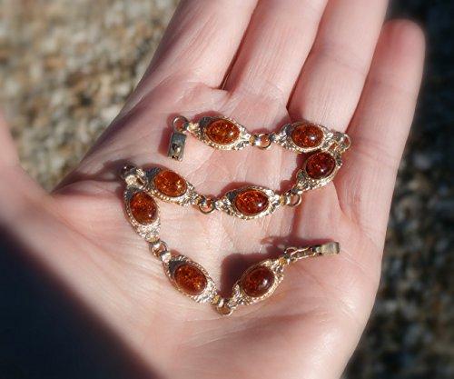 - 14kt Amber Bracelet, Baltic Amber Bracelet, Solid 14kt Yellow Gold, Vintage and Unworn, 7.5 inch length,