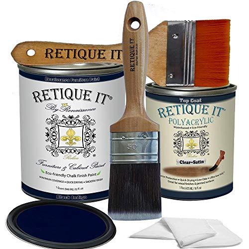 Retique It Chalk Furniture Paint by Renaissance DIY, Poly Kit, 45 Black Indigo, 32 Ounces