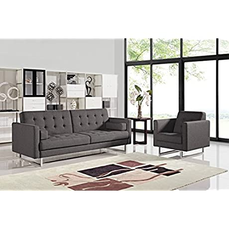 Limari Home Perry Collection Modern Fabric Upholstered Living Room Sofa Bed Grey