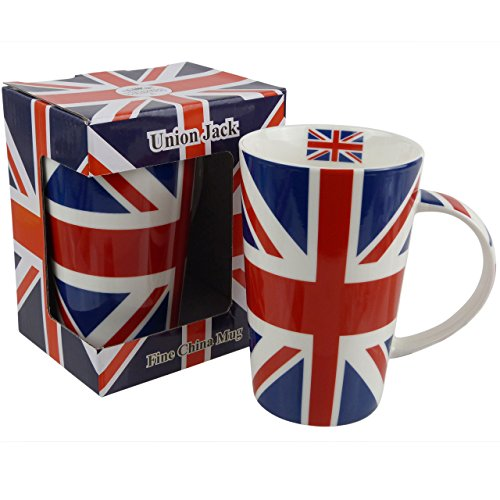 Lenardo Tall Union Jack Latte China Mug Red White Blue Flag Uk London Iconic Queen Gift Boxed