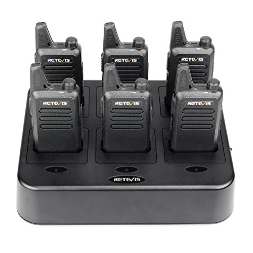 Retevis RT22 Walkie Talkies Hands Free License-Free 2 Way Radios(6 Pack) with Six Way Gang Charger
