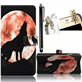 Samsung Galaxy Grand Prime G530H G5308W Case,Vandot 3in1 Set Premium PU Leather Magnetic Closure Flip Stand Wallet Case Colorful Printing drawwing Cover Pattern-Moon Wolf Black+Crystal Tiger Anti Dust Plug+Stylus Screen Touch Pen