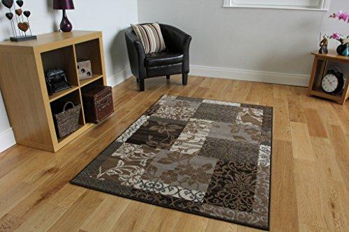 "Milan Brown, Gray, Beige & Cream Patchwork Area Rug 1568-N11 - 4' x 5'6"""
