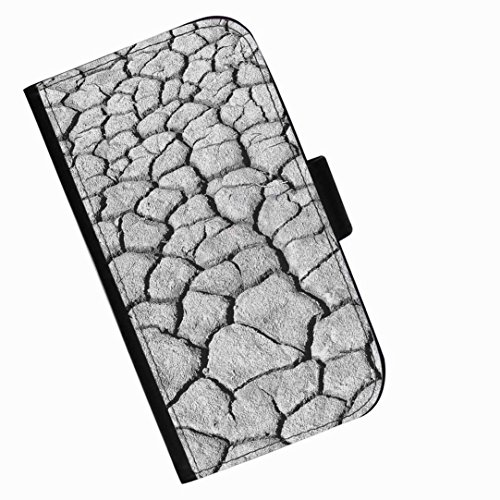 Hairyworm - Grey cracked earth Apple Iphone 3G, 3Gs leather side flip wallet cell phone case, cover with card slots, money slot and magnetic clasp to - 3gs Cracked Iphone