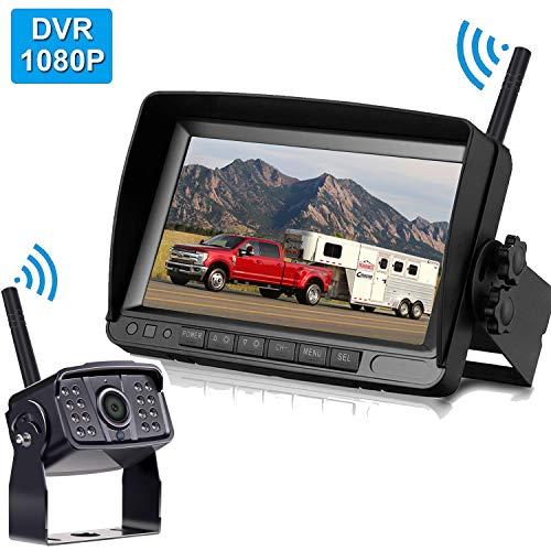 FHD 1080P Digital Wireless Backup Camera Support Split/Quard Screen High-Speed Observation System for RVs,Trucks,Trailers with 7