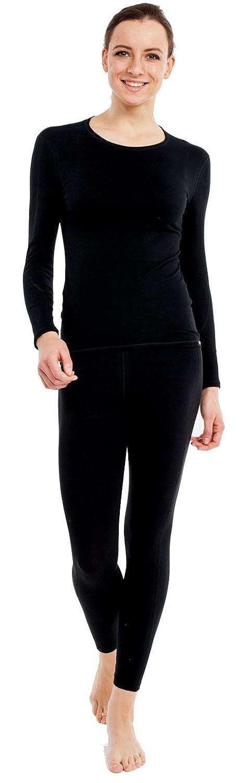 Thermo Unterwäsche Set für Damen lang - Damen Thermo Funktionswäsche Skiunterwäsche Set (Shirt lang + Hose lang) schwarz