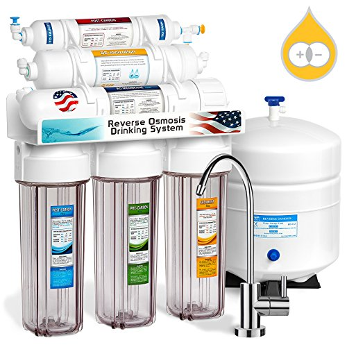 Express Water 6 Stage Deionization + Reverse Osmosis Filtration System 100 GPD RO Membrane Clear Housing DI Resin Ion Exchange Filter Residential Home Under Sink Drinking Water Purification RODI10MC