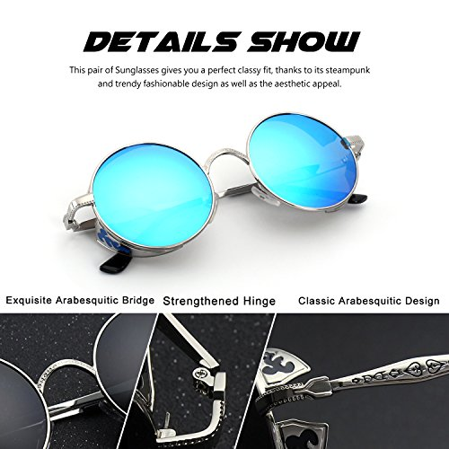 para Steampunk gafas hombres metálico sol círculo polarizadas estilo A Plateado de CGID retro redondo Azul E71 inspirado 7xUqy5wCH