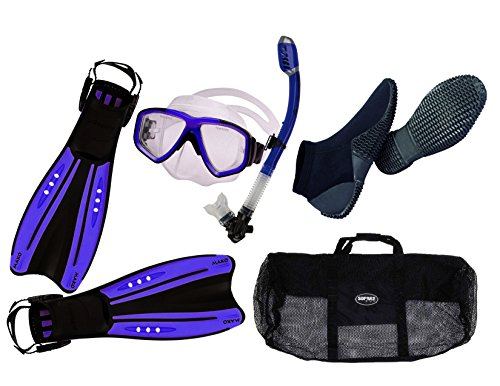 Oceanic Pro Snorkeling Set Blue/Clear Mask Dry Snorkel Adjustable / Aeris Mako open Heel Fins Size XL/ Mesh Gear Bag Defog Package Adult Scuba Freediving Swimming with 2mm Equator Dive Boots (Snorkel Boots Fins)