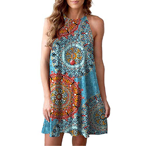 ??Sumeimiya Women's Halter Neck Dress, Sleeveless Boho Print Dress Casual Mini Beachwear Sundress Loose Simple Sundress Blue