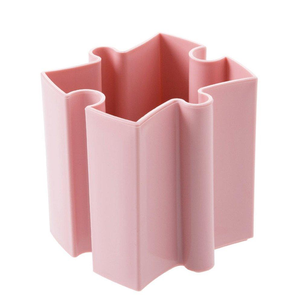 ♚ Rendodon ♚ Stitching Desktop Storage Box, Cosmetic Storage Box, Housekeeping Storage Supplies, Desk Desktop Offices Storage Box Case Cosmetic Organizer Holder Pen Holder (Pink)