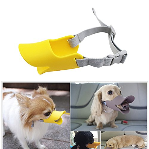 Pevor Dog Mouth Cover - Cute Dog Muzzle Anti-Bite Duck Mouth Shape Anti-called Dog Mask Set Bite-Proof Silicone Material Adjustable Poodle Face Lip Mouth Duckbill Muzzle For Dogs - Duck Face