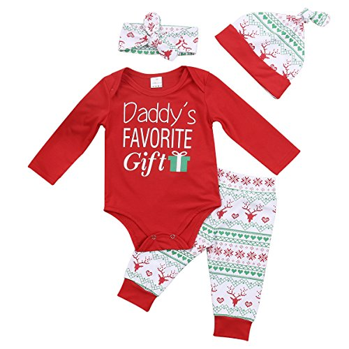 4pcs Baby Boy Girl Christmas Outfit Romper Pants Leggings Hat Clothes Set - 7