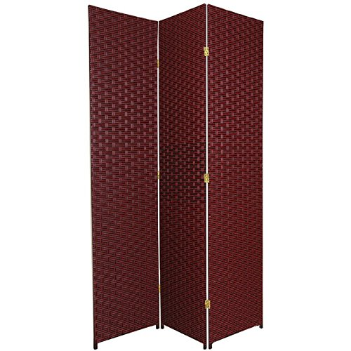 Three Panel Solid Wood - ORIENTAL FURNITURE 7 ft. Tall Woven Fiber Room Divider - Red/Black - 3 Panel