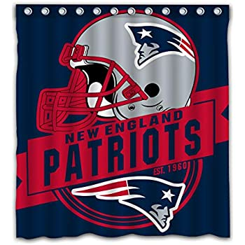 Felikey Custom New England Patriots Waterproof Shower Curtain Colorful Bathroom Decor Size 66x72 Inches