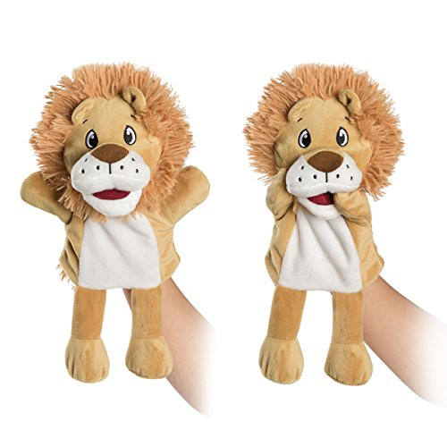 HollyHOME Hand Puppets Lion Plush Animal Zoo Animal Puppets 14 Inches Brown
