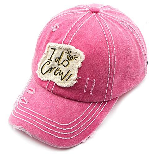 C.C Exclusives Hatsandscarf Washed Distressed Cotton Denim Ponytail Hat Adjustable Baseball Cap (BA-2019) (Hot Pink, I do Crew)
