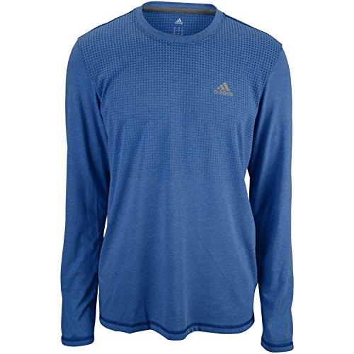 adidas Performance Men's Aeroknit Long Sleeve Tee, Large, Mineral Blue