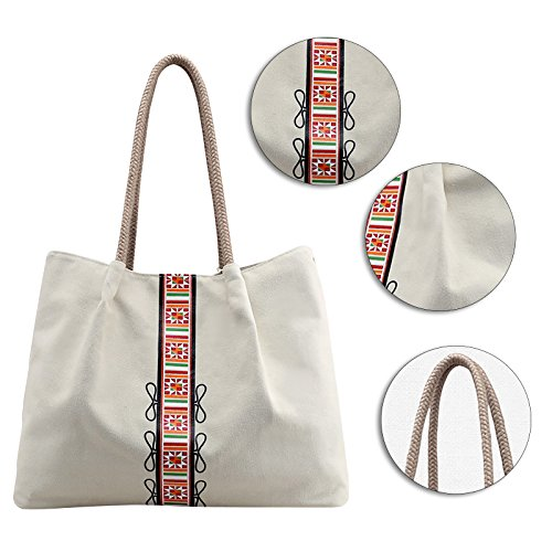 Shopping Bag Tote Beige Work Top Canvas Shoulder Hobo Bag Casual Women's Handle Bag Fanspack Bag wqPp0x4Sq