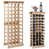 LAZYMOON 44 Bottle Wood Wine Rack Storage Display Shelves Kitchen Decor Natural