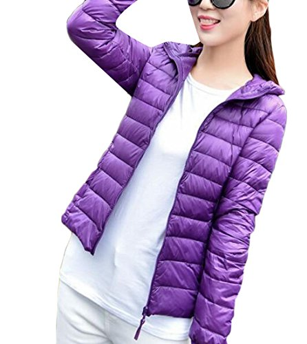 M Packable Outwear amp;W Hooded M Winter Puffer Light Down amp;S Women's Purple 1wrqxXa1U