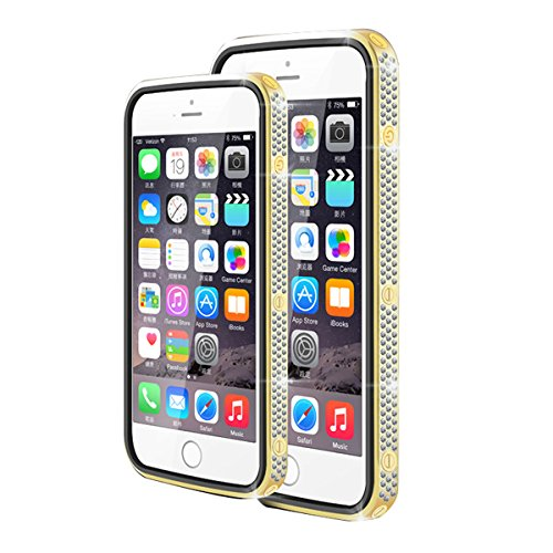 LOVE MEI 24K Gilt Border Czech Chaton and Leather Cover Case for iPhone 6 4.7 - champagne