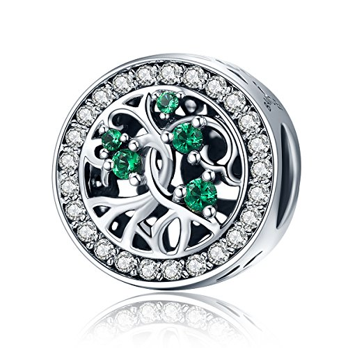 Family Tree Of Life Charms 925 Sterling Silver Green Cubic Zirconia Beads for Bracelet Necklace