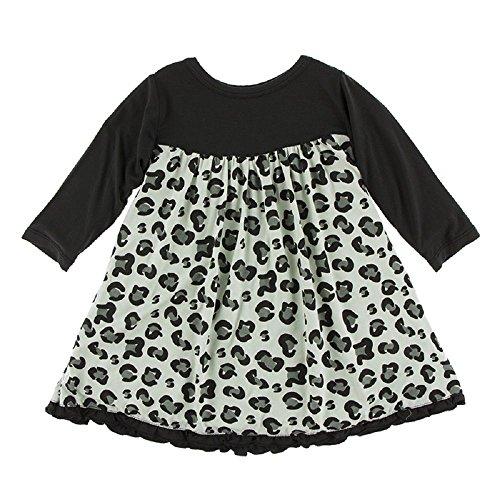 Kickee Pants Little Girls Print Classic Long Sleeve Swing Dress, Aloe Cheetah Print, 18-24 Months